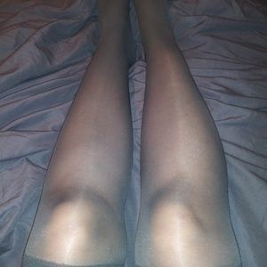 well worn 2 pair over knee stockings Med&dk gray
